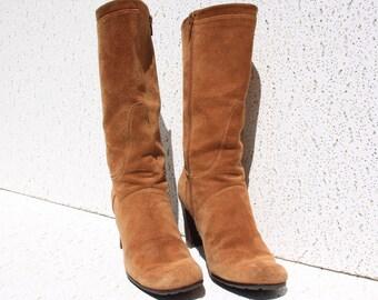 Gorgeous Golden Tan Suede Boots - Vintage 1990s - Stuart Weitzman - Size 6.5 M (USA) - Good Condition