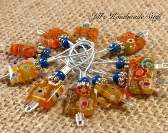 Knitting Stitch Markers- Yellow Flowers- SNAG FREE Wire Loop Markers