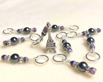 Eiffel Tower Stitch Markers- Snag Free Beaded Knitting stitch marker set- Gifts for Knitters- Crochet Markers- Paris France