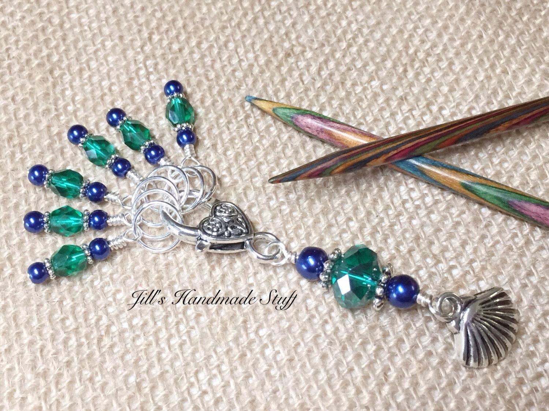 Knitting Markers Beads : Stitch markers seashell beaded marker holder set