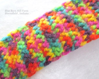 Rainbow Hand Crocheted Scarf - Close Tight Stitch -  Soft and Warm