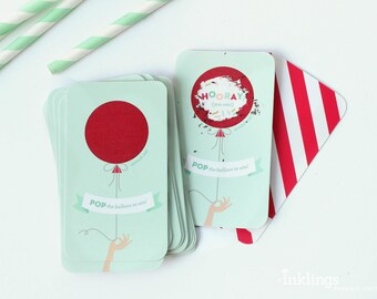 12 Scratch Off Game Cards  // Mint and Red Balloon