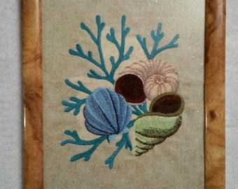 Embroidered wall art, Sea shell art