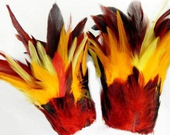 Fire Phoenix Feather Cuffs Samba Dance Adult Unisex Arm Bands NEW