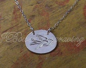 Bird In Flight - Oval Pendant Necklace - Sterling Silver - Hand Engraved Little Bird
