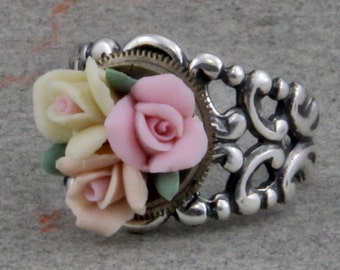 Silver Plated Brass Steampunk Flower Ring Adjustable