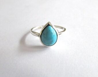 Tear shape turquoise gemstone ring sterling silver ring turquoise jewelry blue stone ring