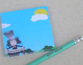 MsBitty Post-It Notes - Sticky Notes Sunny Day with Pencil