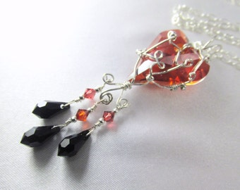 Swarovski Red Magma Wired Wild Heart Necklace in Sterling with Jet Black Teardrops - Marsala Collection