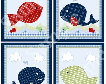 """Printable """"Jackson Whale and Fish/Blue Gingham"""" 8x10 Nursery Art  Instant Digital Download"""
