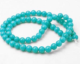 20 Jade Beads in Turquiose Blue - 10mm Gemstone Beads -BD81