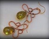 Copper Celtic Knot Drop Earrings, Copper and Czech Glass Earrings
