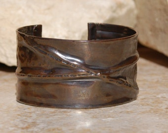 Hand Forged Fold Formed Copper Cuff Bracelet