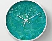 Glass Flower Aquamarine Turquoise Ocean Sea Green Round Wall Clock FREE SHIPPING