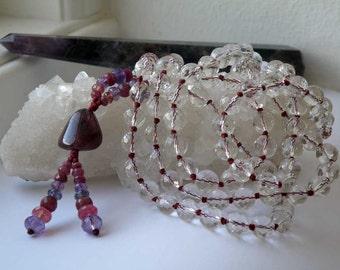 Natural Crystal Quartz mala with Tourmaline - Ruby - Iolite - Amethyst - 108 bead prayer mala - Yoga Jewelry - Crystal neckalce