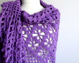 Purple  Shawl,  Large Triangle Shawl By Crochetlab Gift for Mom,Ready To Ship, Gift for Her
