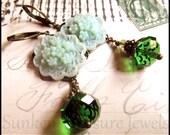 Green Flower Edwardian Earrings, Downton Abbey, Czech Crystal in Green, Titanic Vintage Style Earrings, Green Romantic Victorian Earrings