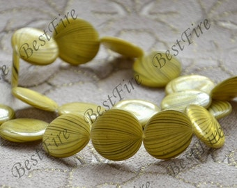 18mm Yellow round coin pearl Shell  loose beads,shell beads loose beads,shell beads,beads stone