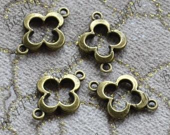 12PCS Of 15x21MM Antique Bronze flower Couple Connectors Charms Pendant,pendant beads,Double on Branch Connectors,jewelry findings