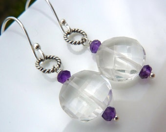 SALE. Amethyst and Ice Crystal Quartz Drop Earrings