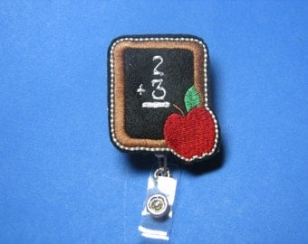 Teacher Name Badge Reel with Clip- Chalkboard