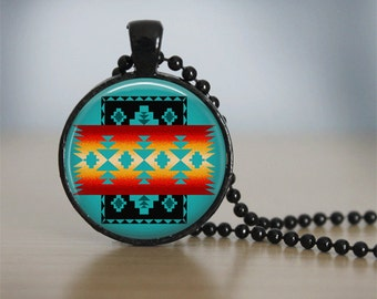 Glass Tile Necklace Native American Jewelry Southwestern Necklace Glass Tile Jewelry Black Jewelry Black Necklace Southwestern Jewelry