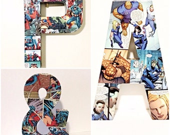 Comic Book Letters and Ampersand, Pop Art, Custom Made 12 inch Letter, 8 inch Ampersand