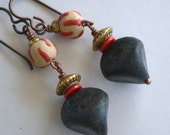 Black Crusty Glass Earrings,  Red Accents,  Brass and Hypoallergenic Ear Wire Earrings