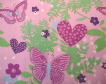 Butterfly and Hearts tied Fleece Blanket