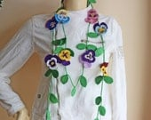 Pansy Crochet Scarf-Lariat Scarf-Flower Necklace Scarf -Crochet Spring Scarf-Purple,blue,Pink,Yellow