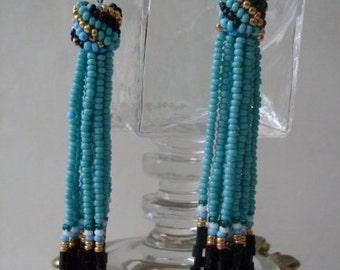 Turquoise Blue Handbeaded Tassel Earrings  Rue23paris  LJOCollection  We Ship Internationally