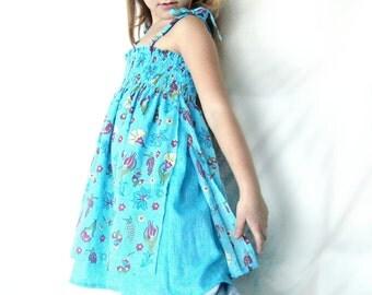 Girls blue cheesecloth dress, Girls blue dress, Floral blue dress, soft dress for baby girls, Blue super soft dress, Girls blue cotton dress
