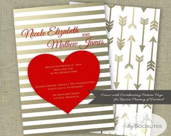 Valentine Wedding Invitation | Red Heart Invitation | Bridal Shower Invitation | Gold Stripes, Gold Arrows, love | PDF | Instant Download