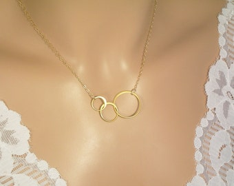 3 Gold Circle Necklace, Interlocking Infinity Circles, 14K Gold Filled Necklcae, Vermeil Interlincking Circles, Bridesmaid Gift