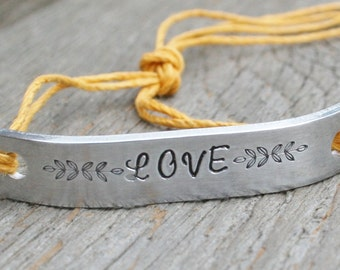 Friendship Bracelet ONE Hand Stamped Couples Jewelry Name Tie On Hemp Cord Personalized Jewelry LOVE Customized Name Date Inspirational