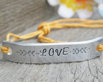 Friendship Bracelet ONE Hand Stamped Couples Jewelry Name Tie On Hemp Cord Personalized Jewelry LOVE Custom Personalized
