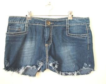 Reinvented OOAK blue cut-off destroyed  denim shorts size 16