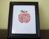 Postage Stamp Art - Apple - Used Postage Stamps - Framed Postage Stamp Art - Wall Art - Apple Art, Teacher Gift