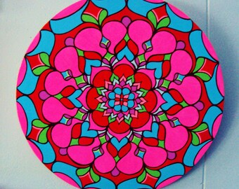 Mandala Painting/ Wood Circle Painting/ Bright Pink/ Bright Red/ Bright Blue/ Purple/ Bright Green