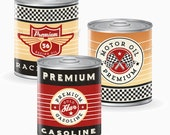 Vintage Racing Tin Can Labels - Race Car Party - Instant Download - Printable Labels
