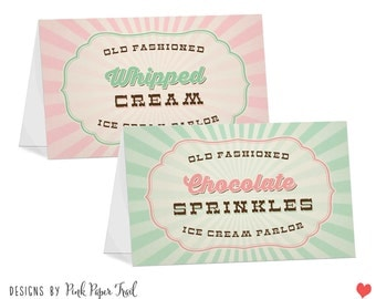 Old Fashioned Ice Cream Parlor Table Tent Card, Ice Cream Party, I will customize for you, Print Your Own