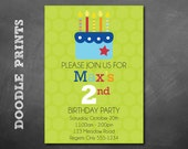 """Birthday Cake Party Invitation - Printable  Happy Birthday To You Colorful Yummy Cake - Boy Birthday invitation 5x7"""""""
