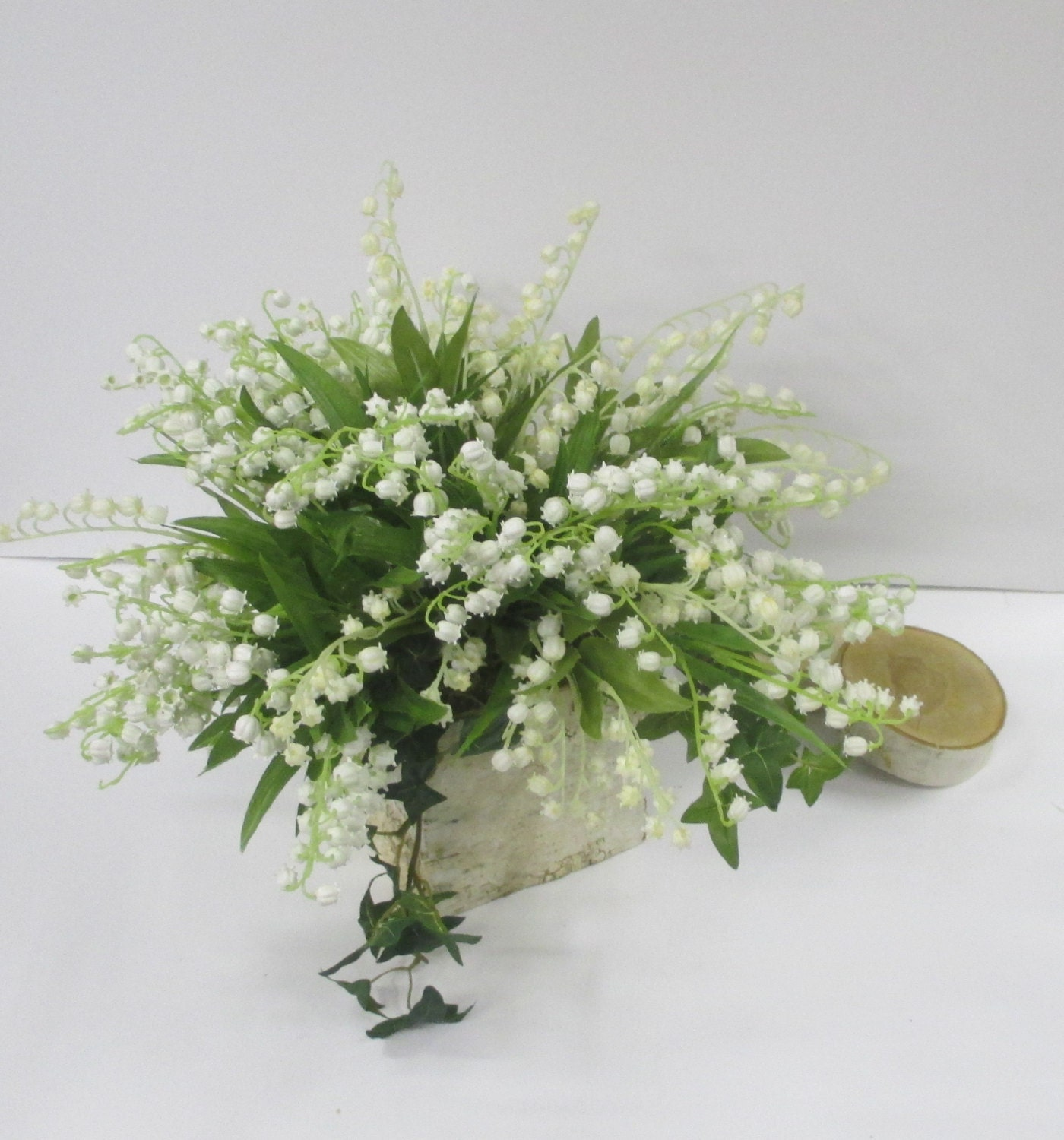 Lily Vase Wedding Flowers : Birch vase centerpiece lily of the valley wedding flower pot