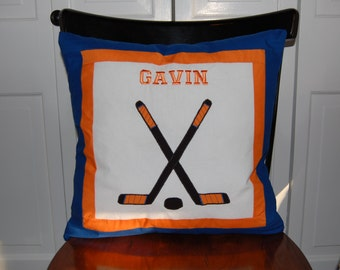 Custom Embroidered Hockey Pillow