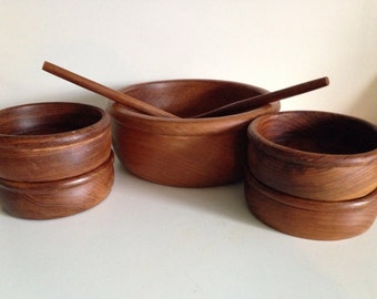 Vintage DANISH Modern DOLPHIN Genuine Staved TEAK Teakwood ~ 7 Piece Salad Pasta Bowl Serving Set - 60s Home Decor