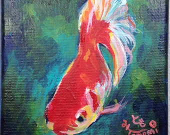 4x4 Original Acrylic Goldfish Painting