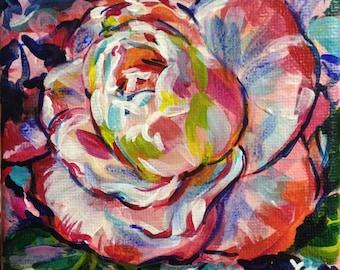 "4x4 Original Acrylic Painting ""Grandma's Camellia 2"""
