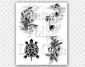 Vintage Clip Art Collage Turtle Tropical Fish Fancy Guppies Angel Fish Printable Digital Collage Sheet Instant Download Scrapbooking