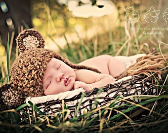 Teddy Bear Hat Newborn Photography Prop With Earflaps