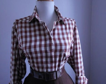 Vintage Western Style Cotton Brown and White Gingham Plaid 1960s Button Down Blouse